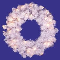 "20"" Pre-Lit Crystal White Artificial Christmas Wreath - Clear Dura Lights"