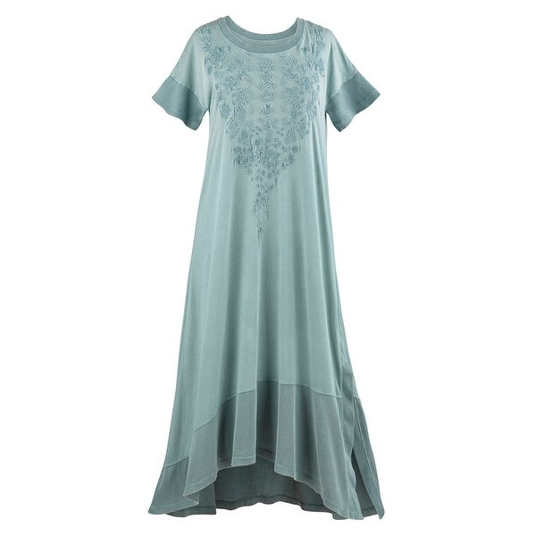 Catalog Classics Women's Embroidered T-Shirt Dress - Green Short Sleeves, 50""