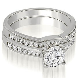 0.94 cttw. 14K White Gold Cathedral Channel Set Round Diamond Bridal Set