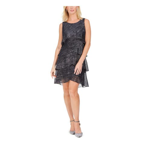 SLNY Black Short Sleeve Mini Dress 12