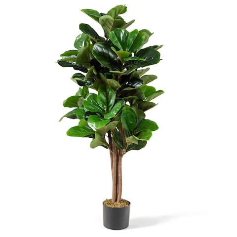 Costway 4ft Artificial Fiddle Leaf Fig Tree Indoor Outdoor Office