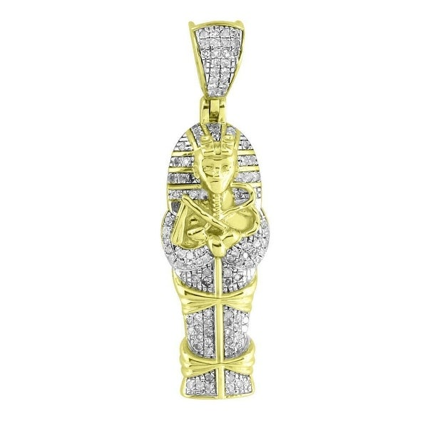 Egyptian Mummy Tomb Pendant 10K Yellow Gold Genuine Diamonds Iced Out Custom Men