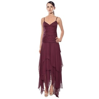 Shawn Ray Fons Ruched Chiffon Flared Hem Evening Gown Dress - 6
