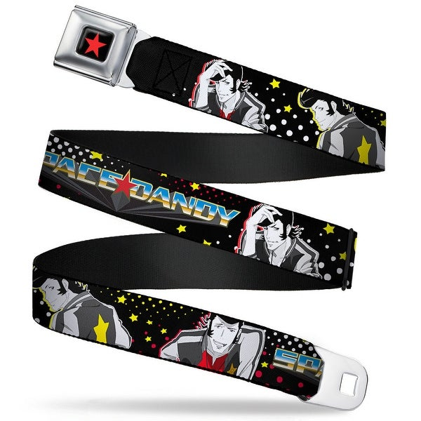Star Full Color Black Red Space Dandy Poses Dots Stars Black White Yellow Seatbelt Belt
