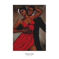 ''Fantasy in Red'' by Monica Stewart African American Art Print (36 x 24 in.)