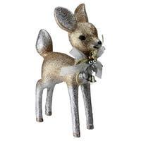 "9.5"" Gilded White Christmas Glitter Standing Deer Christmas Decoration"