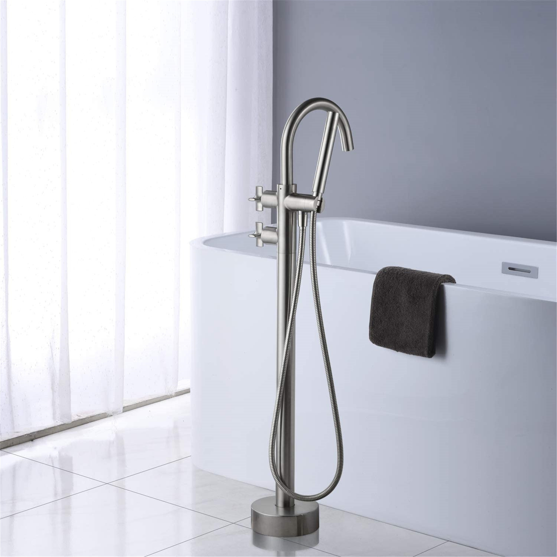 Artiqua Tub Filler Freestanding Bathtub Faucet Brushed Nickel Floor Mount Brass Faucets With Hand Shower Overstock 31455299