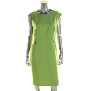 Kasper Womens Citrus Grove Wear to Work Dress Crepe Faux Pocket - 12