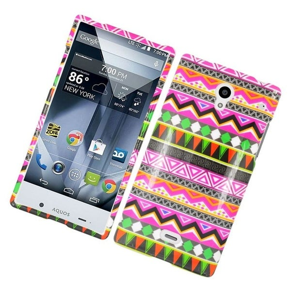 Insten Colorful Elegant Tribal Hard Snap-on Rubberized Matte Case Cover For Sharp Aquos Crystal