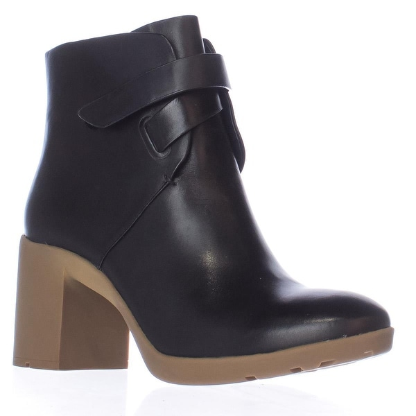 A7EIJE Veda Block Heel Pull On Ankle Boots, Black - 9.5 us / 40.5 eu