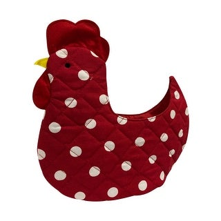 Organic Multipurpose Decorative Chicken Shaped Fabric Egg Storage Basket - Red with White Polka Dots Design