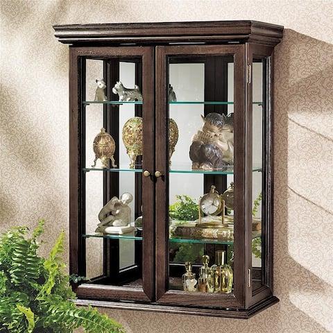 Design Toscano Country Tuscan Hardwood Wall Curio Cabinet: Walnut Finish - 20 x 7.5 x 26
