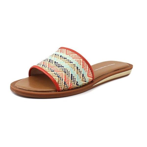 French Connection Ingrid Women Open Toe Canvas Multi Color Slides Sandal
