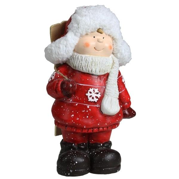 "10.5"" Christmas Morning Boy with Skis Decorative Christmas Tabletop Figure"