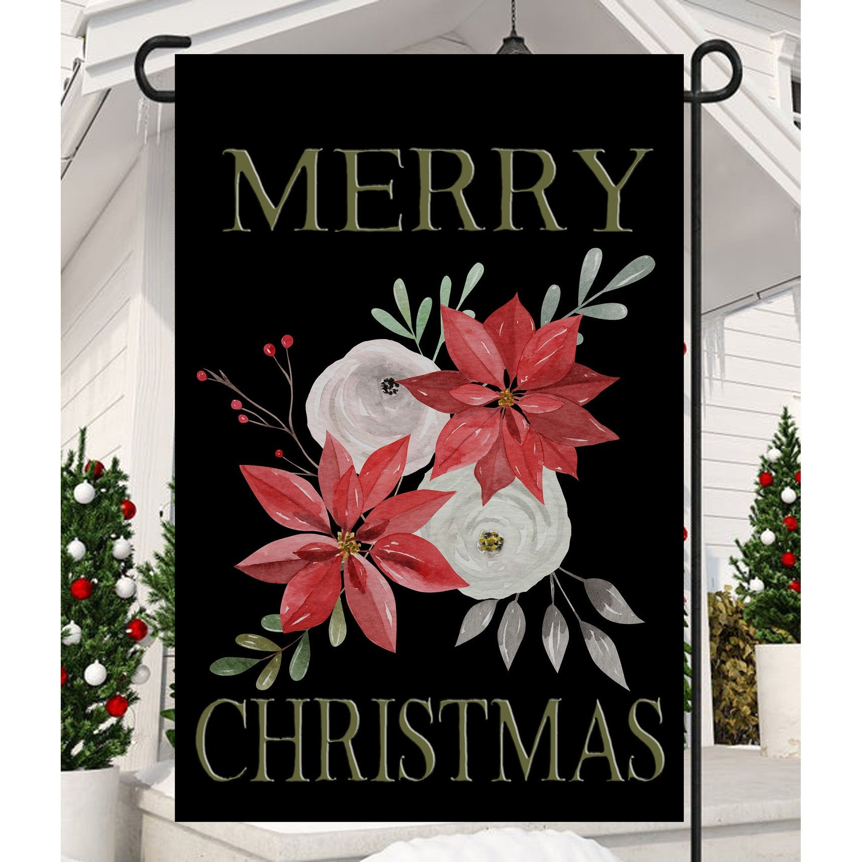 Vibrant Poinsettia Merry Christmas Decorative Rectangular Garden Flag 18 X 12 Overstock 32211593