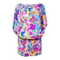 Anne Cole Women's Smocked Floral-Print Doodle Swim Cover - multi