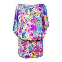 Anne Cole Women's Smocked Floral Doodle Swim Cover (L/XL, Multi) - multi - L/XL