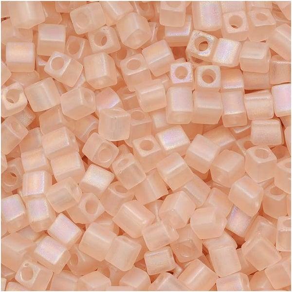 Miyuki 4mm Glass Cube Beads Transparent Matte Light Tea Rose AB 155FR 10 Grams