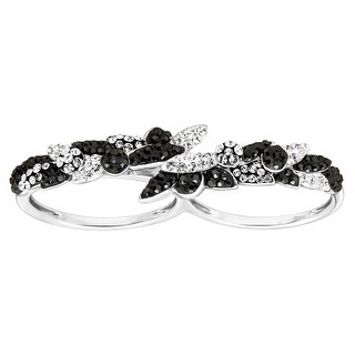 Crystaluxe Two-Finger Ring with Swarovski Crystals in Sterling Silver - Black