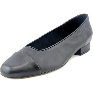 Vaneli Frankie Women WW Round Toe Leather Black Flats