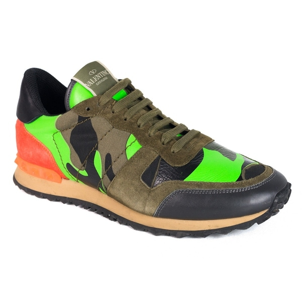 5a3fb7f8d7d6d Shop Valentino Mens Leather Green Orange Camo Rockrunner Sneakers ...