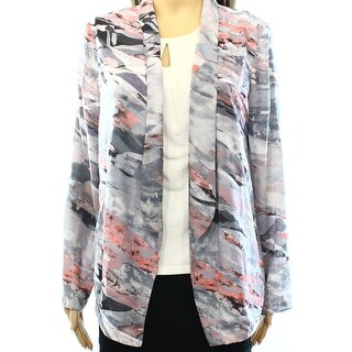 Lush NEW Gray Large L Junior Open-Front Printed Cardigan Sweater