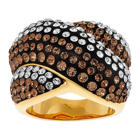 Crisscross Stripe Ring with Crystals in 18K Gold-Plated Bronze - Brown