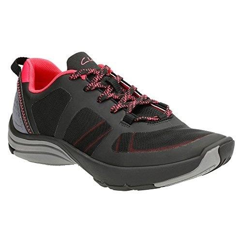 Clarks Women's Wave Kick Lace Up Shoe,Black Mesh,US 10 M
