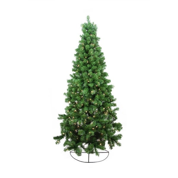6' Pre-Lit Pine Artificial Wall Christmas Tree - Clear Lights - Green