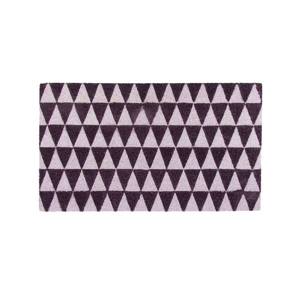 "Decorative Black and White Triangle Print Coir Outdoor Rectangular Door Mat 29.5"" x 17.75"""