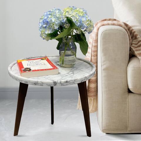 Carson Carrington Tandsjoberg 19-inch Round Italian Carrara Marble Table
