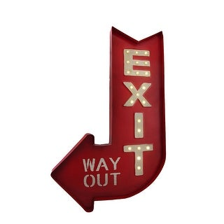 Retro Style LED Lighted Marquee Exit Arrow Metal Sign Battery Powered - Red