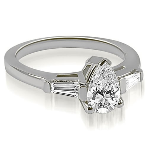 1.25 cttw. 14K White Gold Pear and Baguette Three Stone Diamond Engagement Ring HI, SI1-2