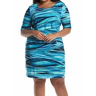 Connected Apparel NEW Blue Women's Size 24W Plus Printed Sheath Dress