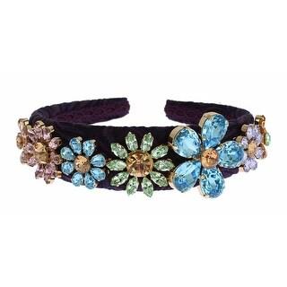 Dolce & Gabbana Dolce & Gabbana Purple Blue Brocade Gold Crystal Floral Headband Hair Diadem - One size