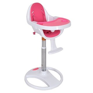 Costway Pink Pedestal Baby High Chair Infant Durable Feeding Dining Table Safety Seat