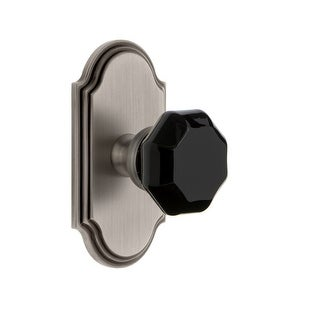 "Grandeur ARCLYO_PRV_234  Arc Solid Brass Rose Privacy Door Knob Set with Lyon Black Crystal Knob and 2-3/4"" Backset"