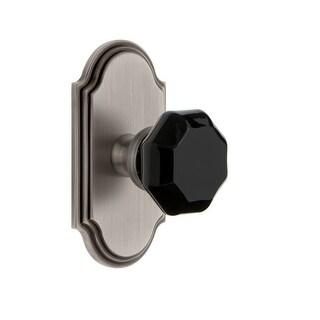 "Grandeur ARCLYO_PSG_234  Arc Solid Brass Rose Passage Door Knob Set with Lyon Black Crystal Knob and 2-3/4"" Backset"