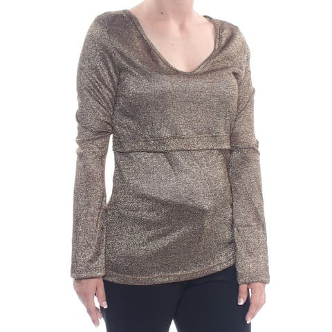 4OUR DREAMERS Womens Gold Glitter Speckle Long Sleeve Scoop Neck Top Size: M