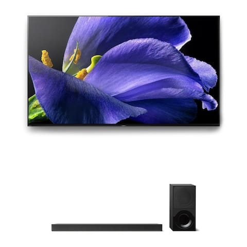 "Sony XBR-65A9G 65"" BRAVIA OLED 4K UHD HDR TV and HT-X9000F 2.1-Channel Dolby Atmos Sound Bar with Subwoofer"