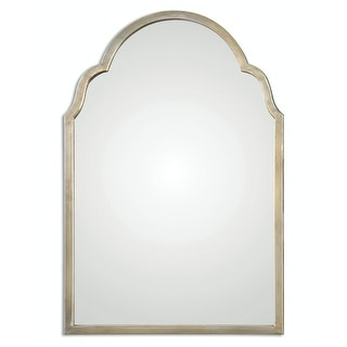 Petite Bridgette Hand Forged Metal Arch Wall Mirror with Silver Champagne Frame