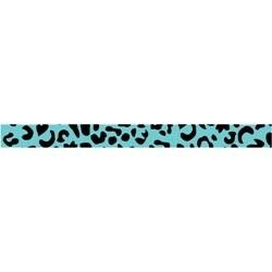 """Teal Leopard - Dollar Ribbon .375""""X4'"""