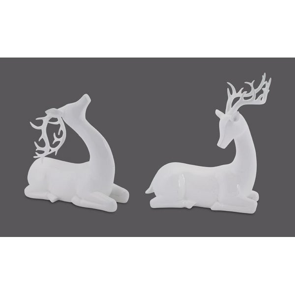"Set of 2 White Modern Deer Christmas Decorations 10""-13.5"""