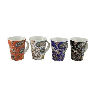Kathy Ireland Designs 4 Piece Colorful Paisley Print Ceramic Mug Set