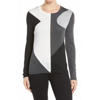 Vince Camuto NEW Gray Womens Size Small S Colorblocked Crewneck Sweater