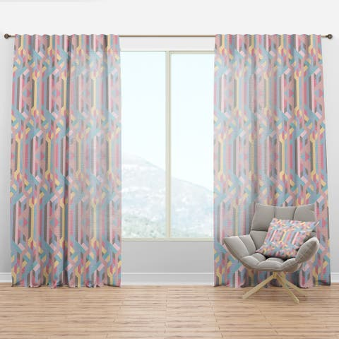 Designart 'Colorful Geometry in Pink, Blue, Yellow and Black' Modern & Contemporary Curtain Panel