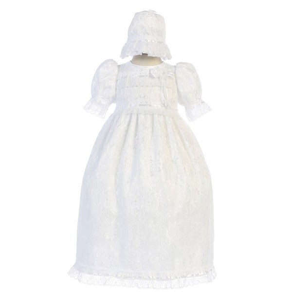Angels Garment Baby Girls White Lace Trim Accents Christening Dress