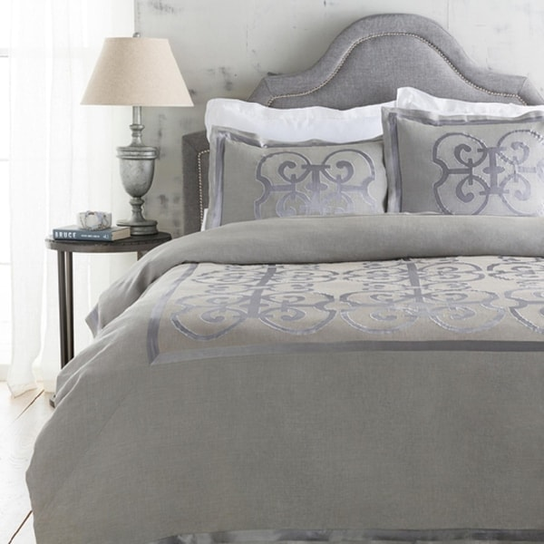 Metallic Silver and Stone Gray Royalty Decorative Linen Full/Queen Bedding Set