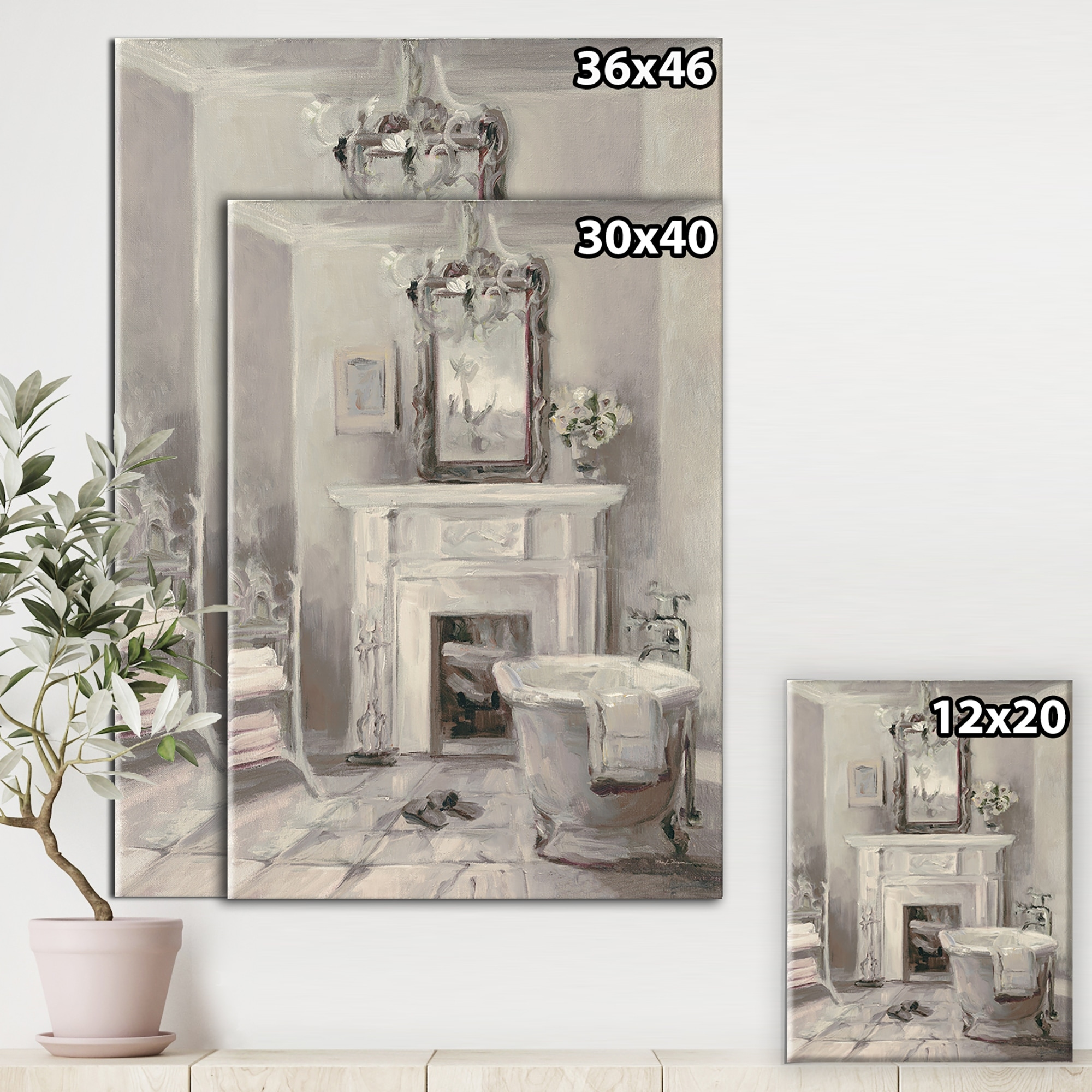 Designart French Bathroom Vintage I Traditional Bathroom Premium Canvas Wall Art Grey On Sale Overstock 25705897