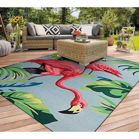 Miami Flamingoes Pink-Blue Indoor/ Outdoor Area Rug